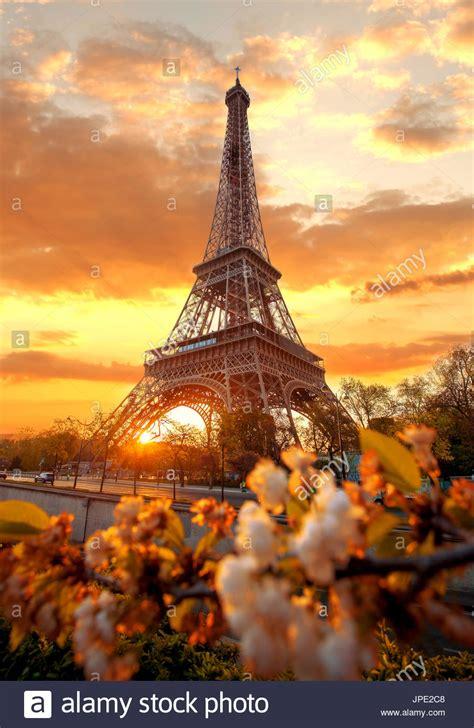 eiffel tower  beautiful spring morning  paris