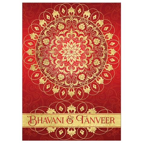 exotic  east wedding invitation rich red ornate faux