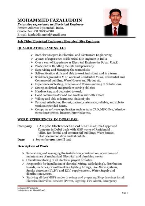 b tech electrical engineer cv