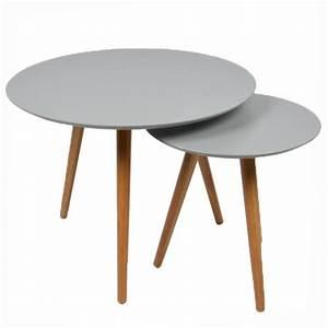 Table Gigogne Scandinave : 2 tables basses gigognes rondes grises lagan achat vente table basse 2 tables basses ~ Teatrodelosmanantiales.com Idées de Décoration