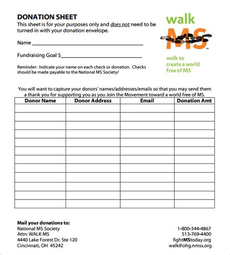 Donation Sign Up Sheet Template by Donation Sheet Template 4 Free Pdf Documents