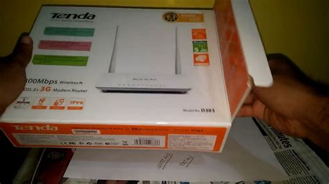 unboxing tenda te d303 wireless n300 adsl2 3g modem router