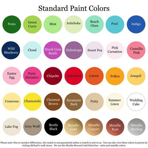 here are my standard paint color offerings if you would