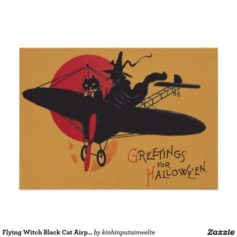 flying witch black cat airplane full moon  paper
