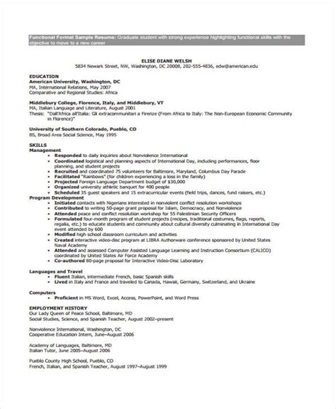 Functional Cv by 9 Functional Curriculum Vitae Templates Pdf Doc Free