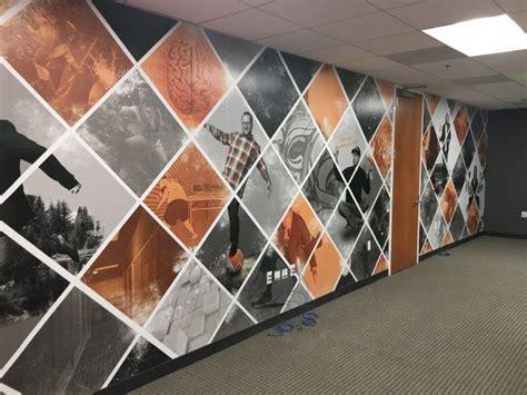 office signs corporate lobby logos wall murals orange