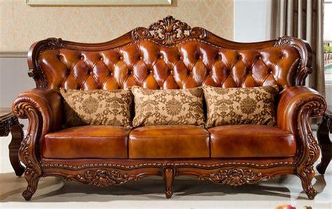 hand carving wood leather sofa set european sofa set