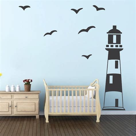 lighthouse wall clings lighthouse wall decal nautical room wall decor sailing wall stickers removable
