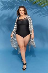 Black Mesh Panel Swimsuit Plus Size 16 To 32