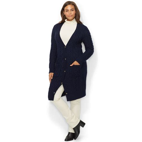 plus size sweaters by ralph plus size cable knit sweater coat