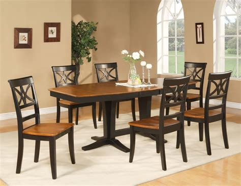 pc dining room set table   wood seat chairs  black