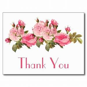 Vintage Pink Roses Thank You Floral Postcard | Postcards ...