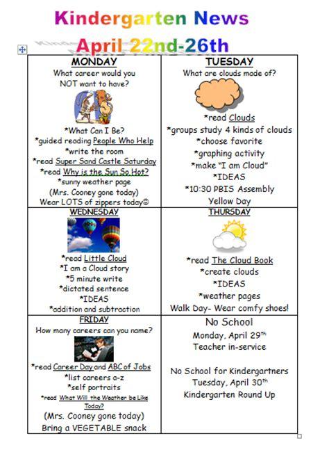 mrs cooney s kindergarten class 343   April 22nd newsletter