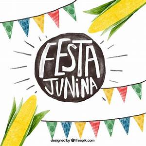 Watercolor festa junina background with garlands and corn ...
