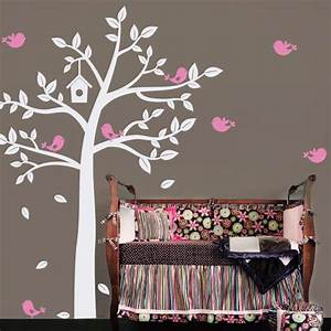 New huge white tree and cute birds decals baby