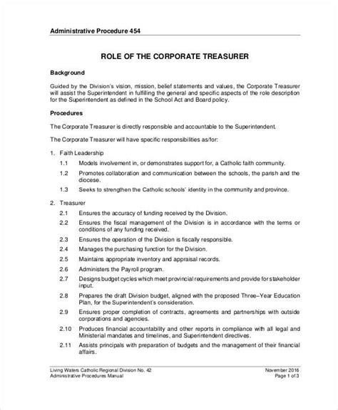 10 treasurer description templates pdf doc free