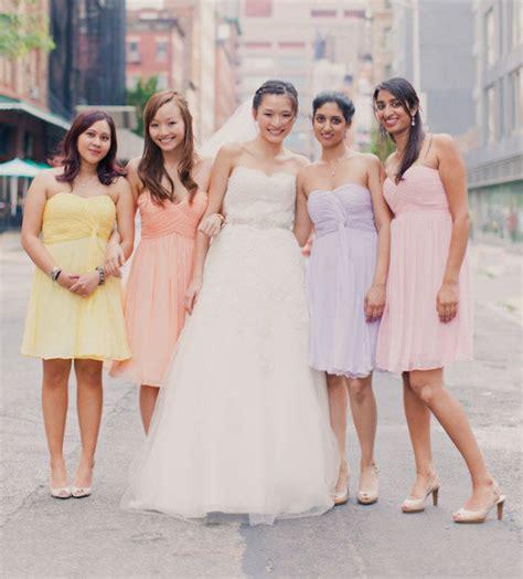 pas cher pastel couleurs de demoiselle d honneur robes courtes ch 233 rie de l 233 paule en mousseline