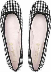 Pretty Ballerinas Black and White Check Ballerina Shoes in ...