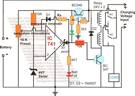 Solar Battery Charger Circuit With High Low Cut Off