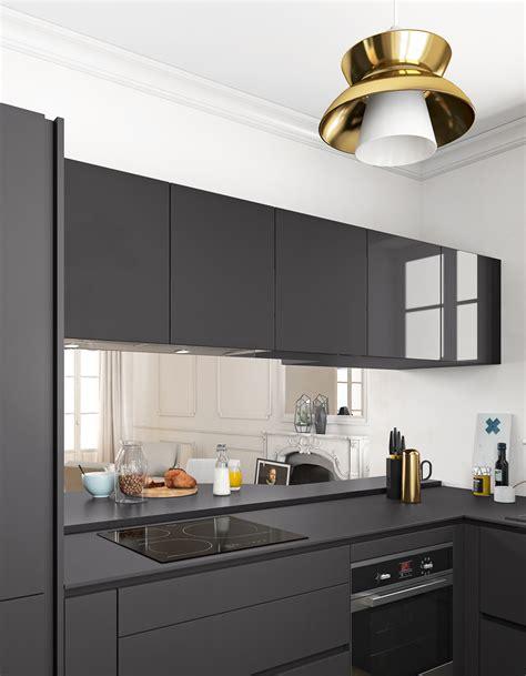 cuisine noir plan de travail bois un plan de travail noir mat pour une cuisine contemporaine