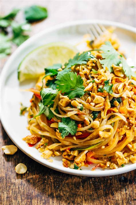 Rainbow Vegetarian Pad Thai with Peanuts and Basil - Pinch