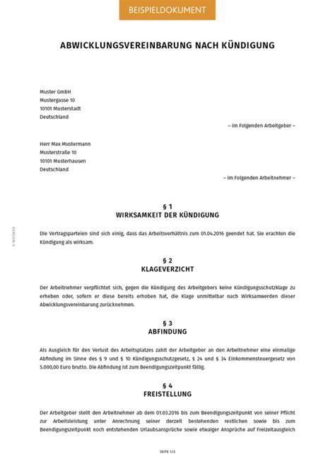 abwicklungsvereinbarung nach kuendigung smartlaw