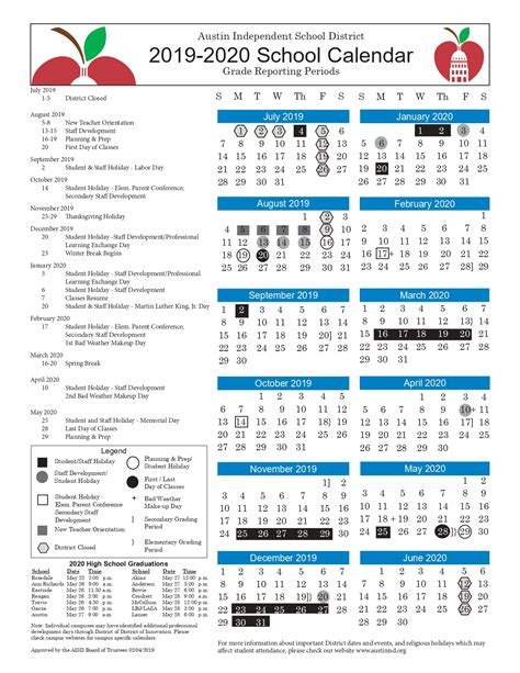 austin isd calendar printable images