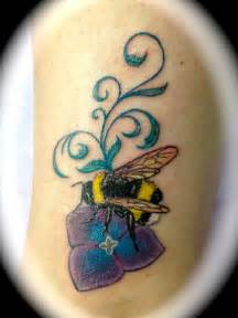 Bumble Bee and Flower Tattoos