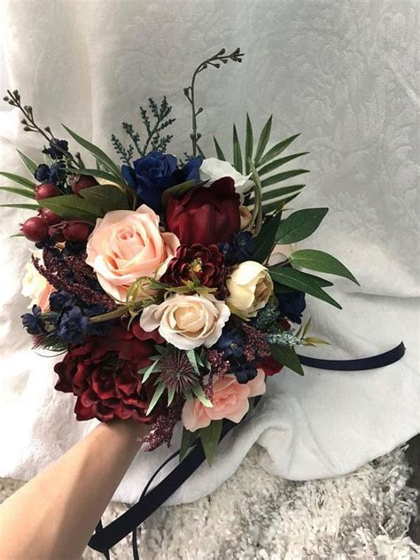 wedding bouquet burgundy navy blue red peony eucalyptus