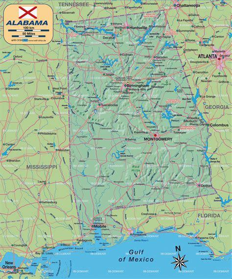karte von alabama bundesland provinz  vereinigte