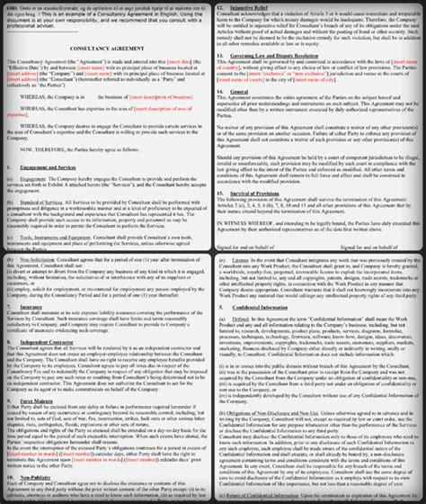 consultant contract template   samples   word
