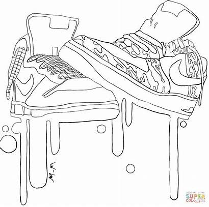 Coloring Nike Pages Sneakers Printable Drawing