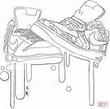 Coloring Pages Shoe Jordan Shoes Clothes Popular sketch template