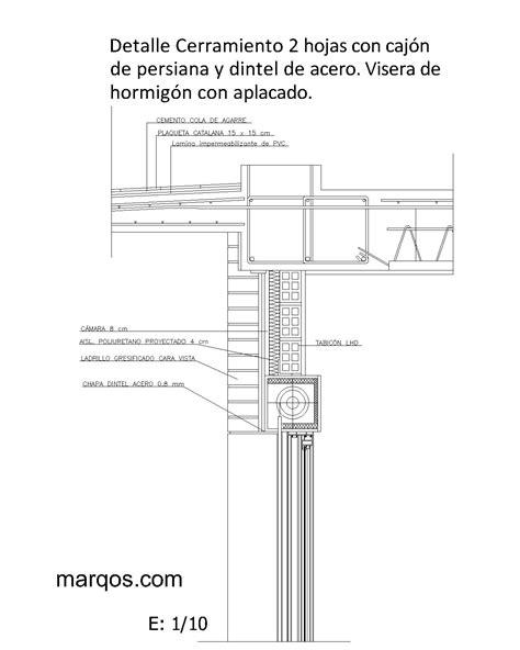 Persiana Dwg by Dwg Cerramiento 2 Hojas Con Caj 243 N De Persiana Y Dintel