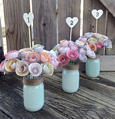 paper centerpieces for tables paper flowers paper flower centerpiece rustic wedding