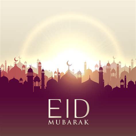 eid mubarak card  mosque silhouttes