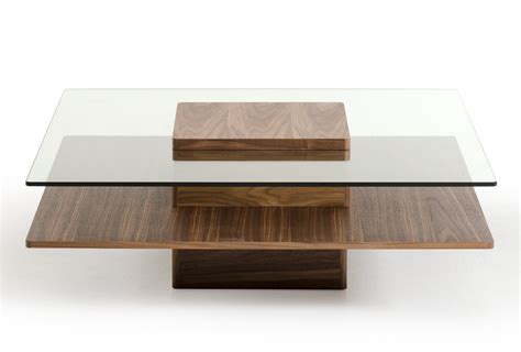 Walnut and Tempered Glass Transparent Coffee Table New York New York VIG Clarion