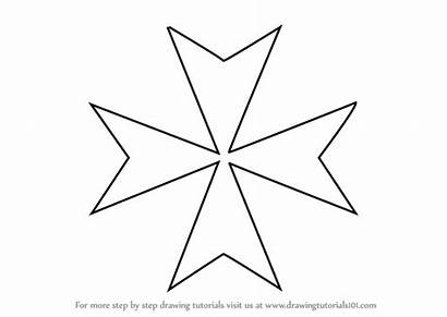 Maltese Cross Step Draw Drawing Christianity Drawingtutorials101