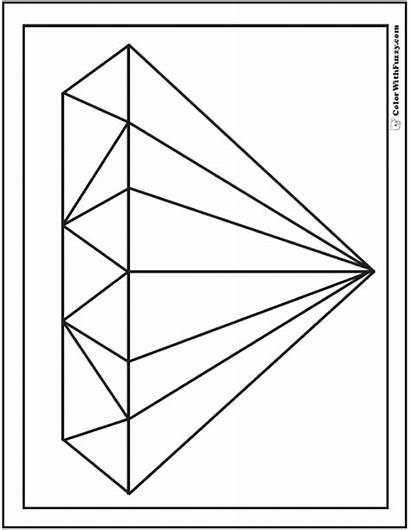Diamond Coloring Shape Pages Faceted Shapes Sheet