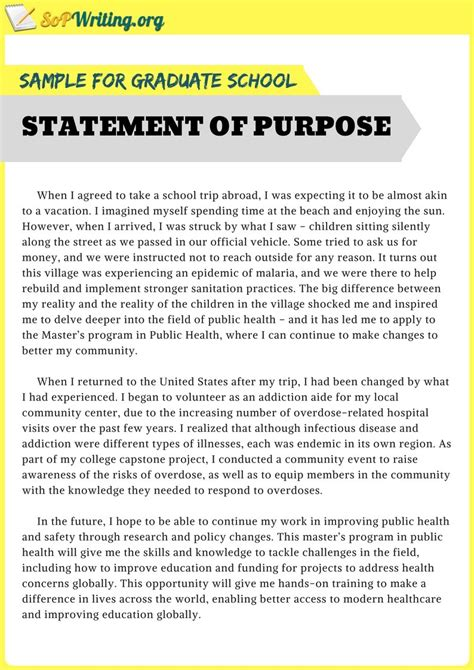 sample statement  purpose  graduate school