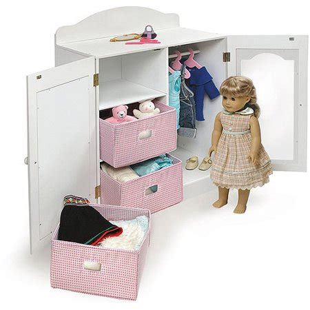 Doll Clothes Armoire by Badger Basket Mirrored Doll Armoire With Hangers And