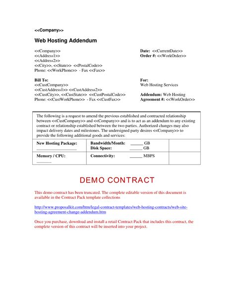 contract addendum template contract contract addendum template