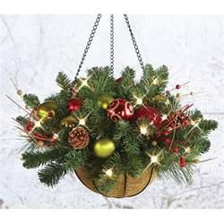 cordless pre lit hanging basket 24 quot dia decor indoor outdoor ebay