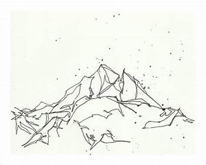 Mountain Sketch Drawing Print - Minimalist Art ...