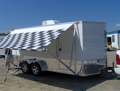 enclosed motorcycle cargo trailer ac unit awning white race trailer  ebay