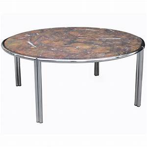 Italian modernist cocktail table with fossil marble top for Fossil coffee table