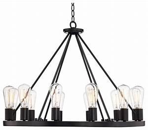 Lacey quot wide round black chandelier industrial