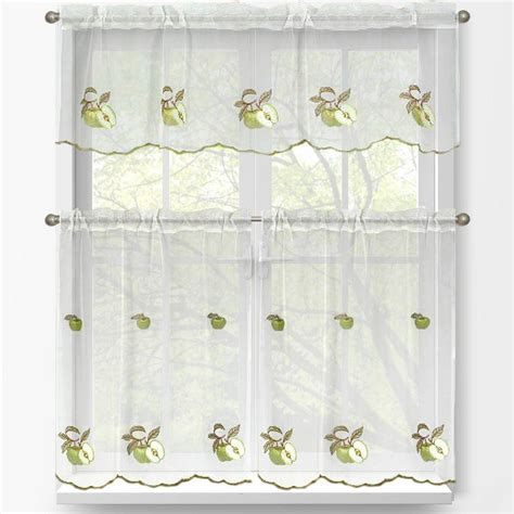 window elements sheer green apple embroidered  piece