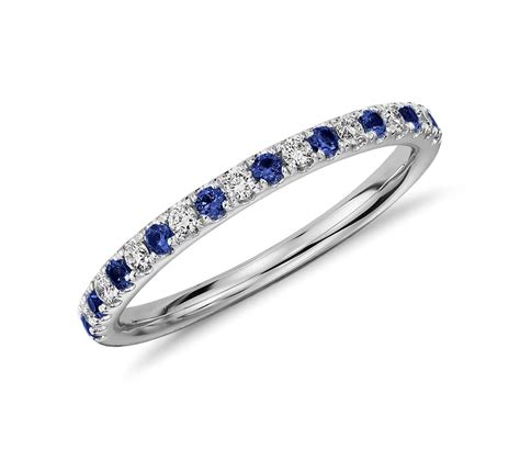 pave sapphire  diamond ring   white gold tanary