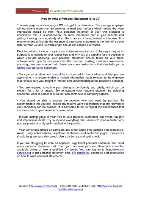 Personal Statement For Resume by Personal Profile Resume Statement For Exles Statements